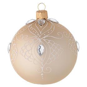 Bolas de Navidad: Bola de Navidad de vidrio oro y decoración blanca 80 mm