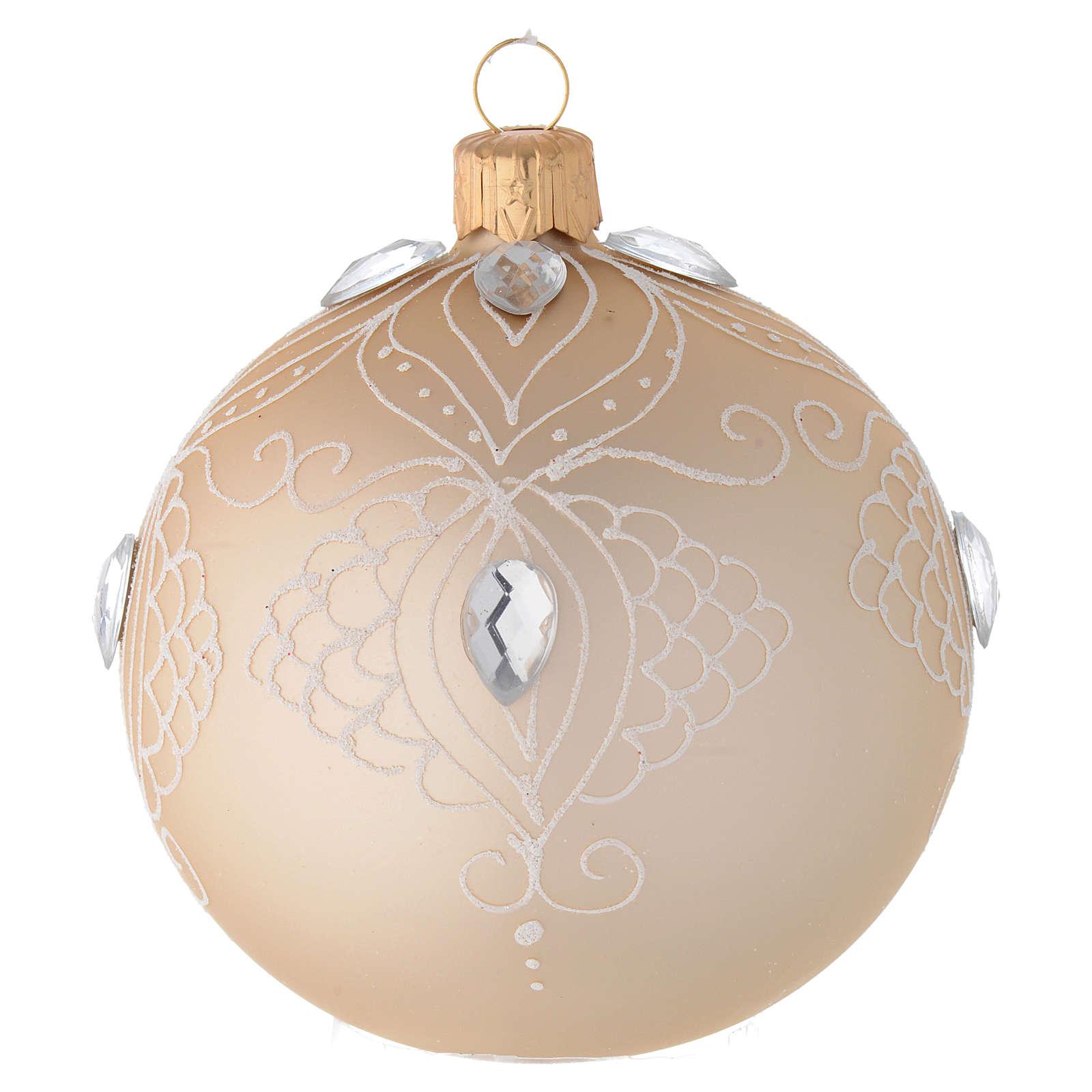 Decoro Albero palla vetro oro/bianco 80 mm 4