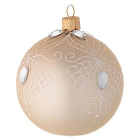 Decoro Albero palla vetro oro/bianco 80 mm s2
