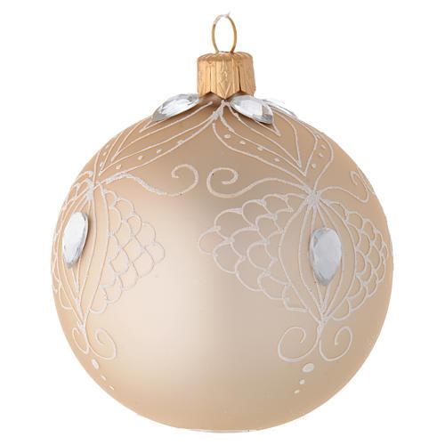 Decoro Albero palla vetro oro/bianco 80 mm 2