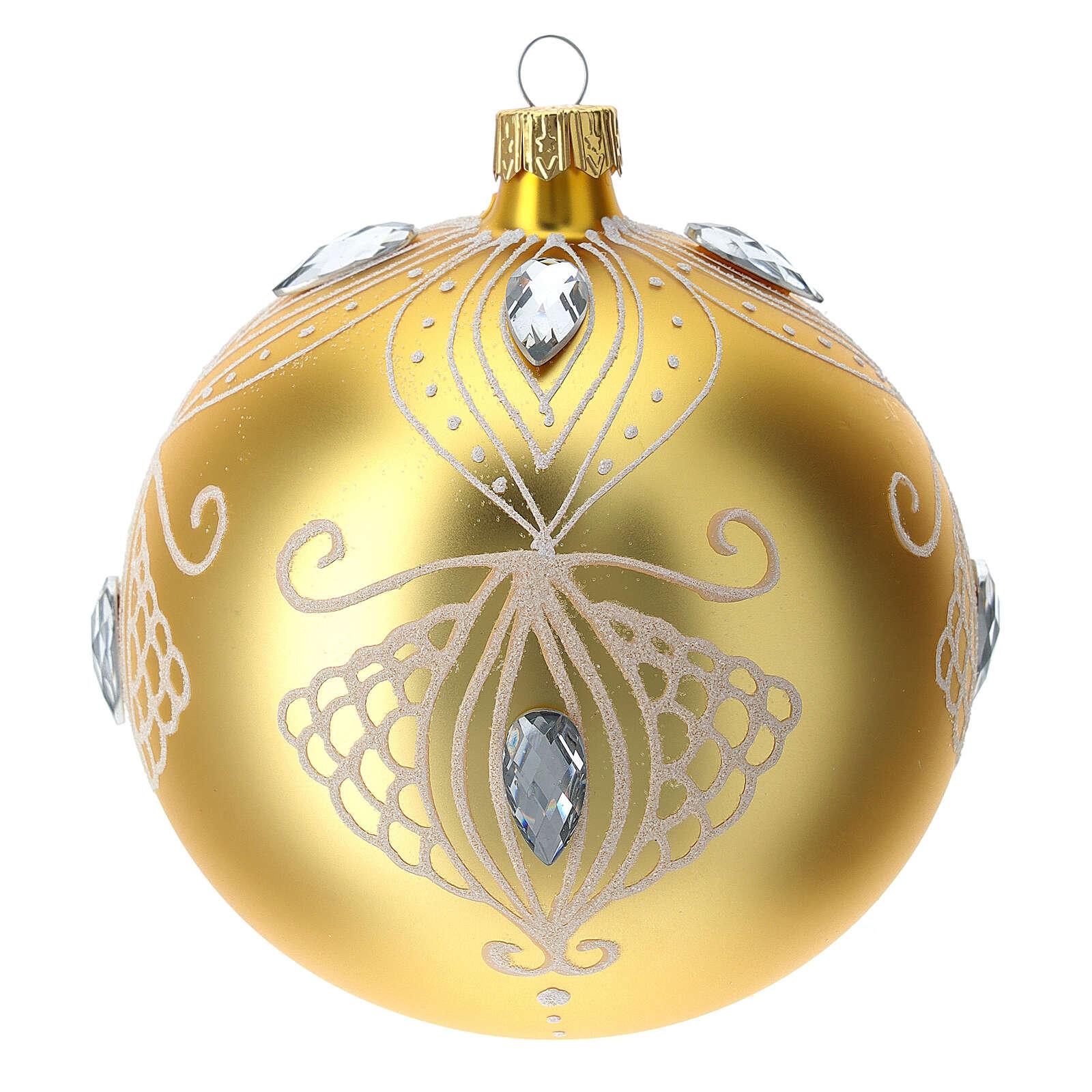 Bola árbol de Navidad de vidrio soplado oro y decoración blanca 100 mm 4