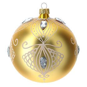 Bola árbol de Navidad de vidrio soplado oro y decoración blanca 100 mm s1