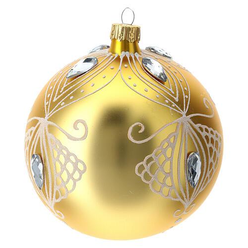 Bola árbol de Navidad de vidrio soplado oro y decoración blanca 100 mm 2