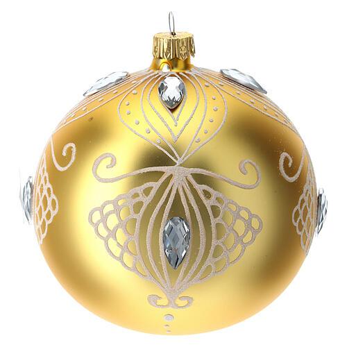 Bola árbol de Navidad de vidrio soplado oro y decoración blanca 100 mm 3