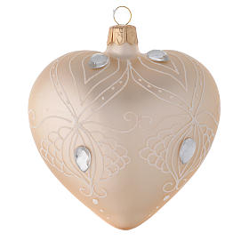 Bola de Navidad corazón de vidrio oro y decoración blanca 100 mm s1