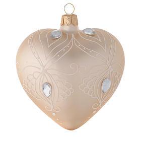 Decoro Albero cuore vetro oro/bianco 100 mm s1