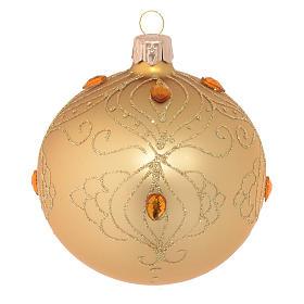 Bolas de Navidad: Bola de Navidad de vidrio oro con estrás oro 80 mm
