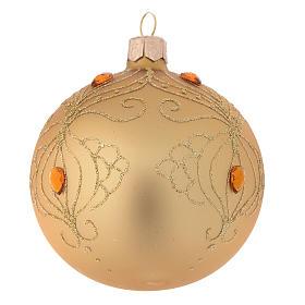 Decoro Albero palla vetro oro strass oro 80 mm s2