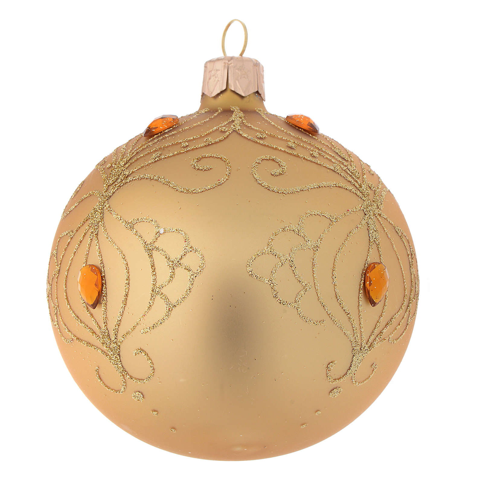 Bauble in gold blown glass with gold tree decoration 80mm 4