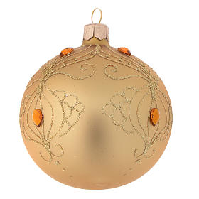 Bauble in gold blown glass with gold tree decoration 80mm s2