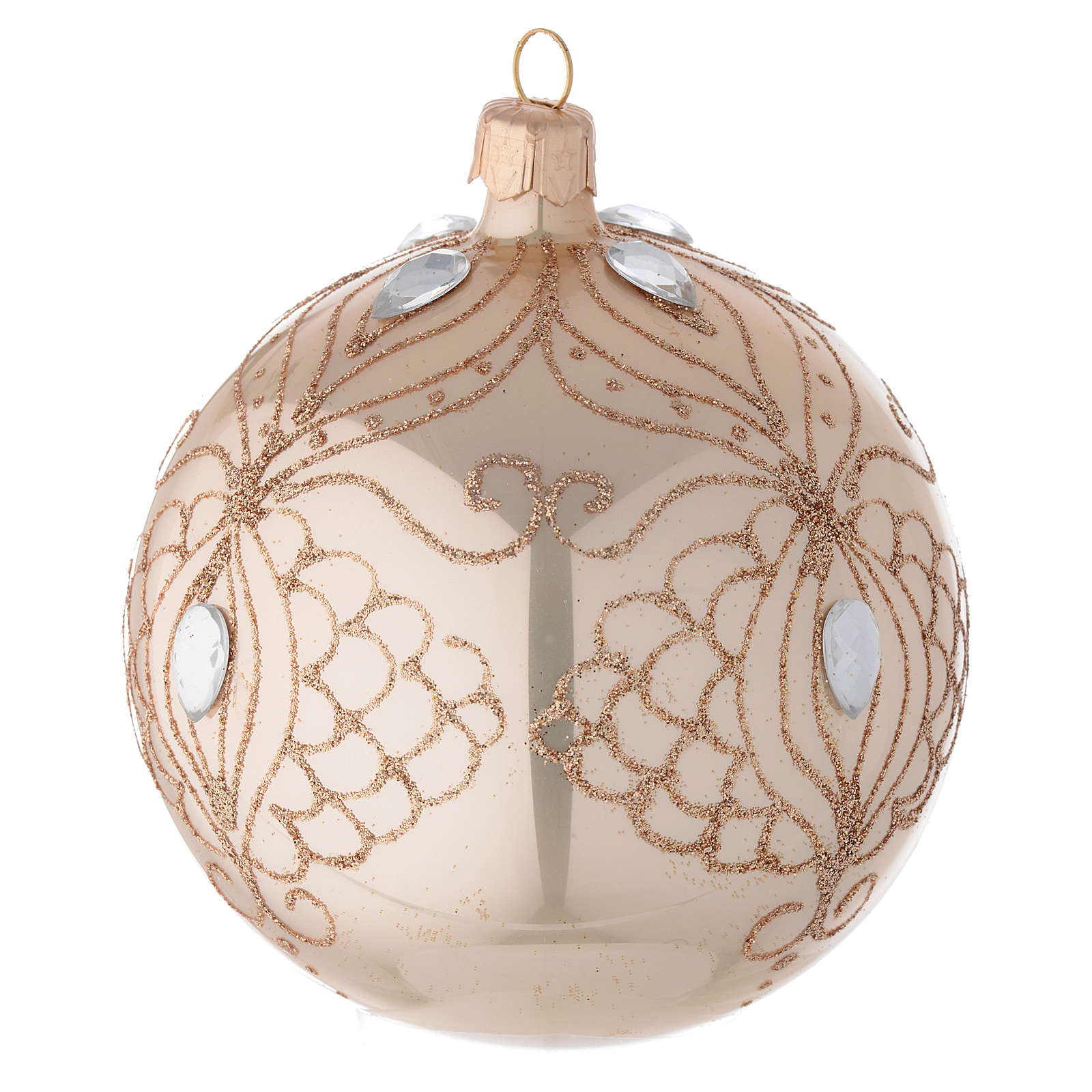 Bauble in gold blown glass with gold tree decoration 100mm 4