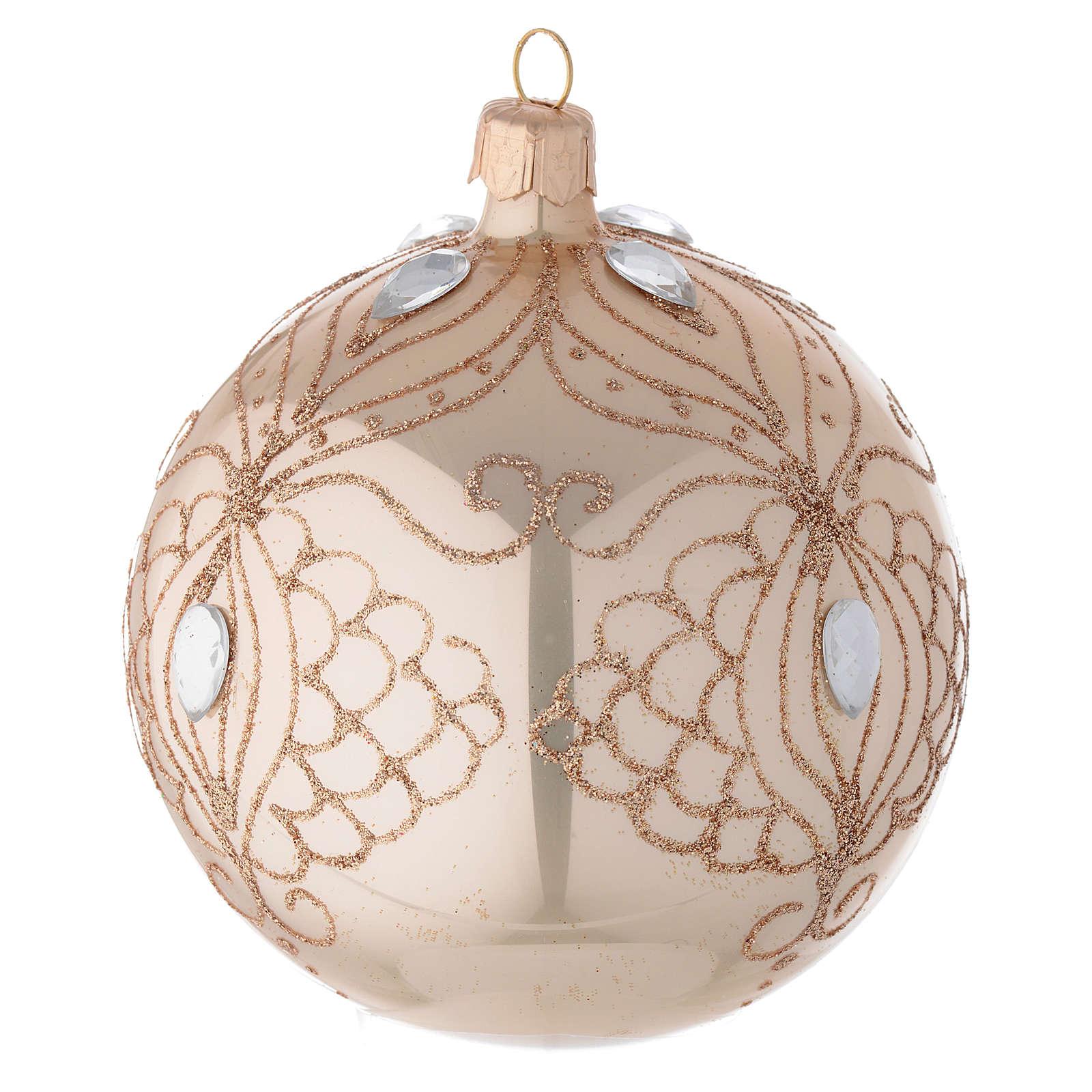 Bola árbol de Navidad de vidrio oro con estrás oro 100 mm 4