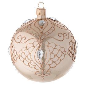 Bola árbol de Navidad de vidrio oro con estrás oro 100 mm s1
