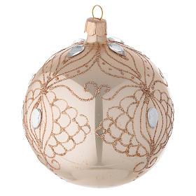 Bola árbol de Navidad de vidrio oro con estrás oro 100 mm s2