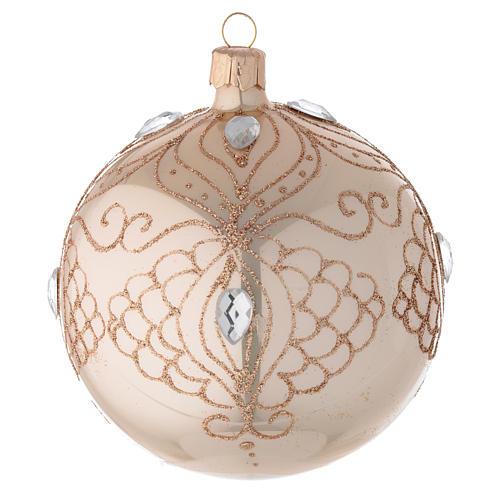 Bola árbol de Navidad de vidrio oro con estrás oro 100 mm 1