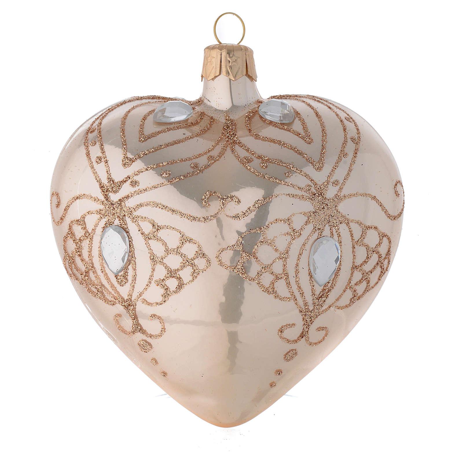 Bola de Navidad corazón de vidrio soplado oro con estrás oro 100 mm 4