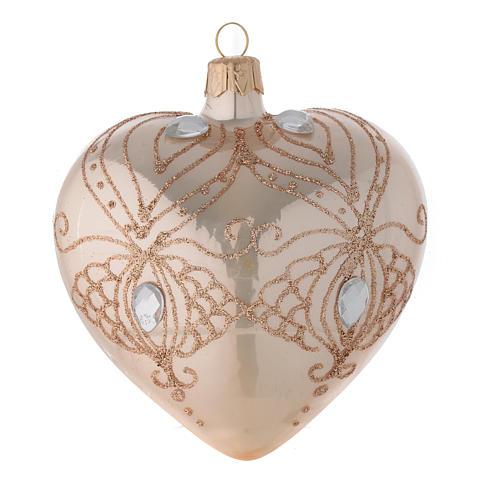 Bola de Navidad corazón de vidrio soplado oro con estrás oro 100 mm 1