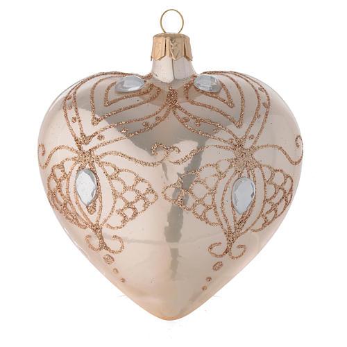Bola de Navidad corazón de vidrio soplado oro con estrás oro 100 mm 2
