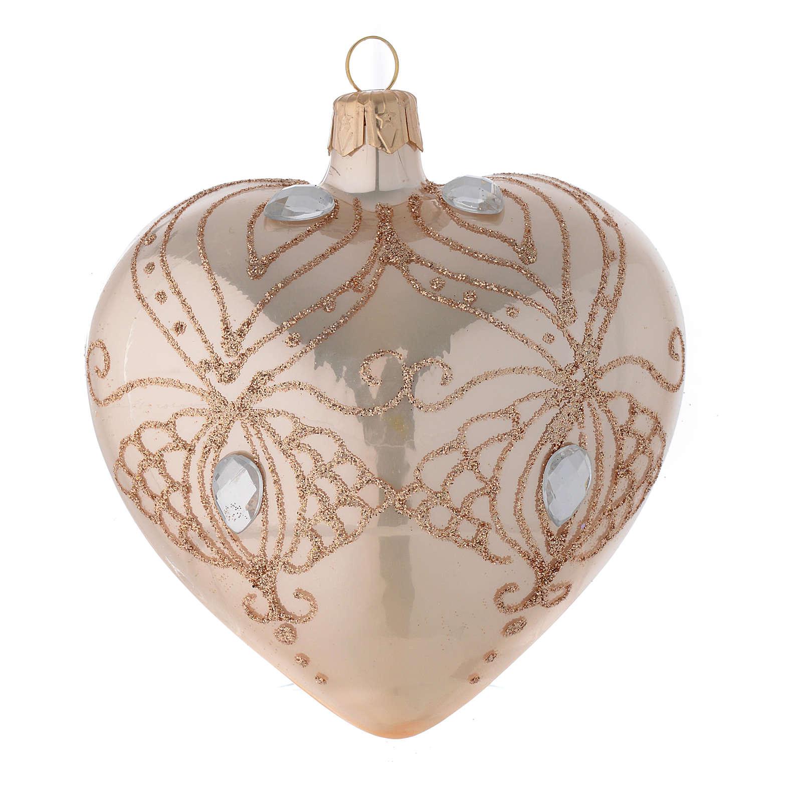 Addobbo Albero cuore vetro oro strass oro 100mm 4