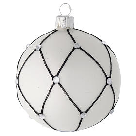 Bauble in white blown glass with black decoration 80mm s1