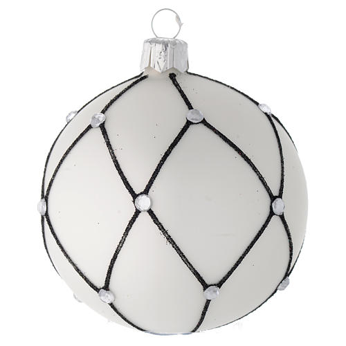 Bauble in white blown glass with black decoration 80mm 1