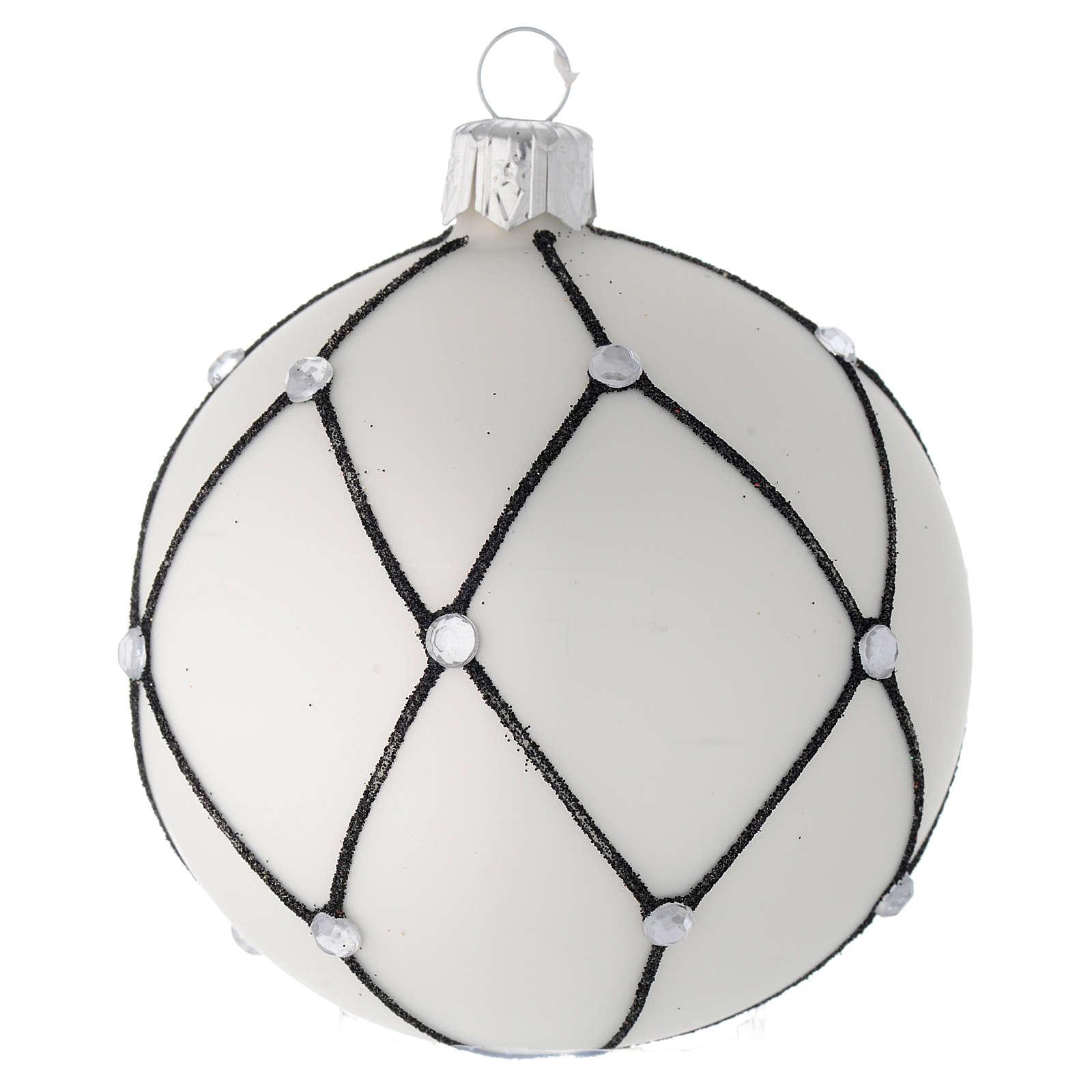 Bola de Navidad de vidrio blanco con decoración negra 80 mm 4