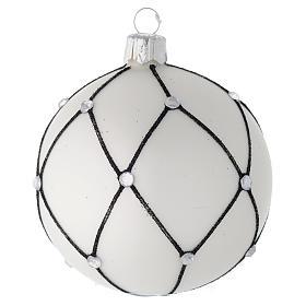 Bola de Navidad de vidrio blanco con decoración negra 80 mm s1