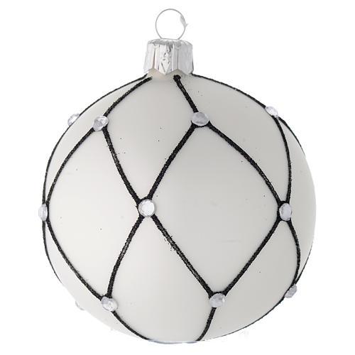 Bola de Navidad de vidrio blanco con decoración negra 80 mm 1