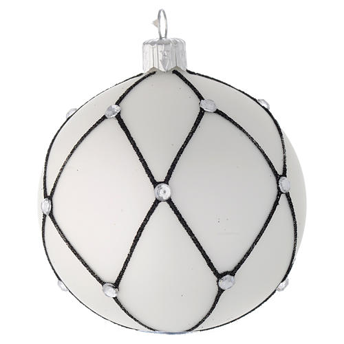 Bola de Navidad de vidrio blanco con decoración negra 80 mm 2