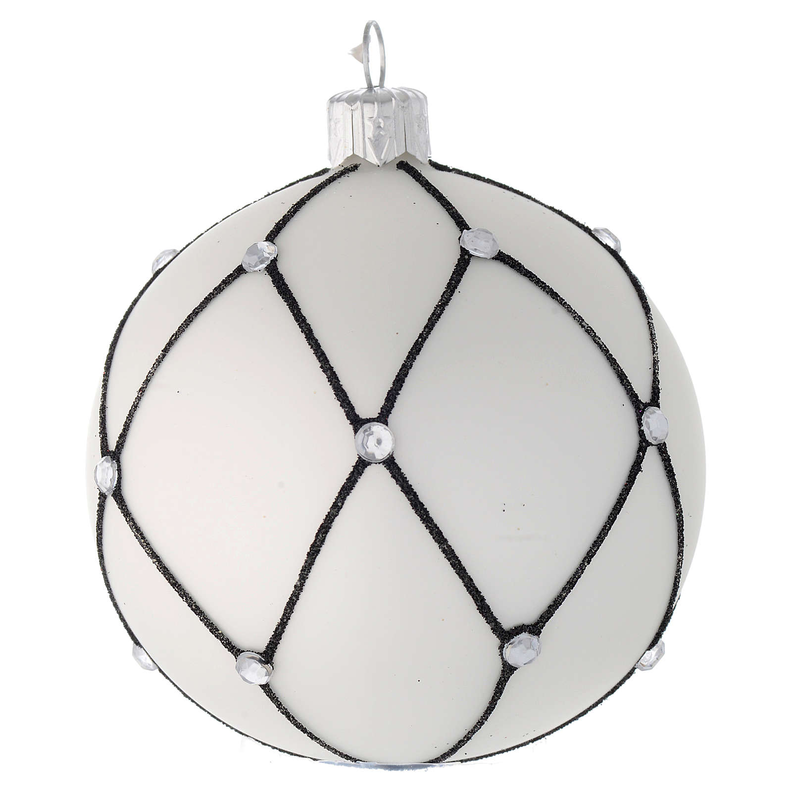 Addobbo palla vetro bianco decoro nero 80 mm 4