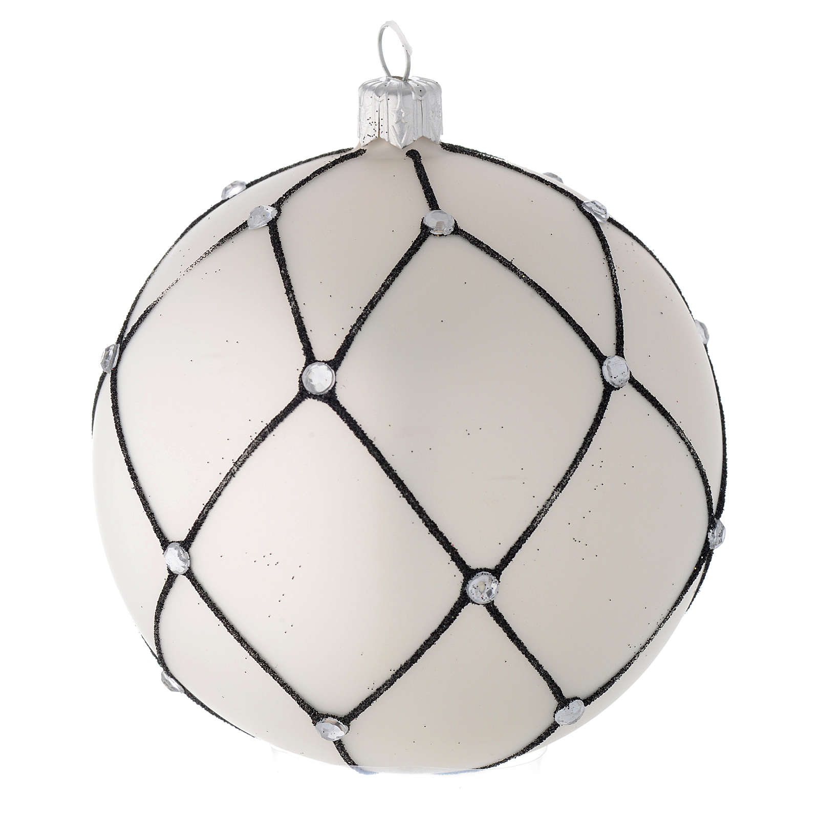 Bauble in white blown glass with black decoration 100mm 4