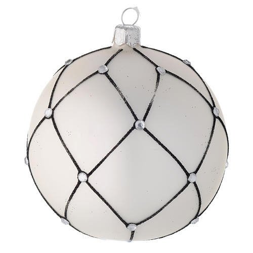 Bauble in white blown glass with black decoration 100mm 1