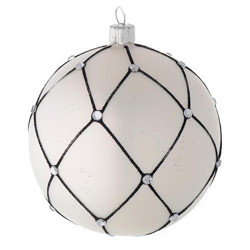 Bauble in white blown glass with black decoration 100mm 2