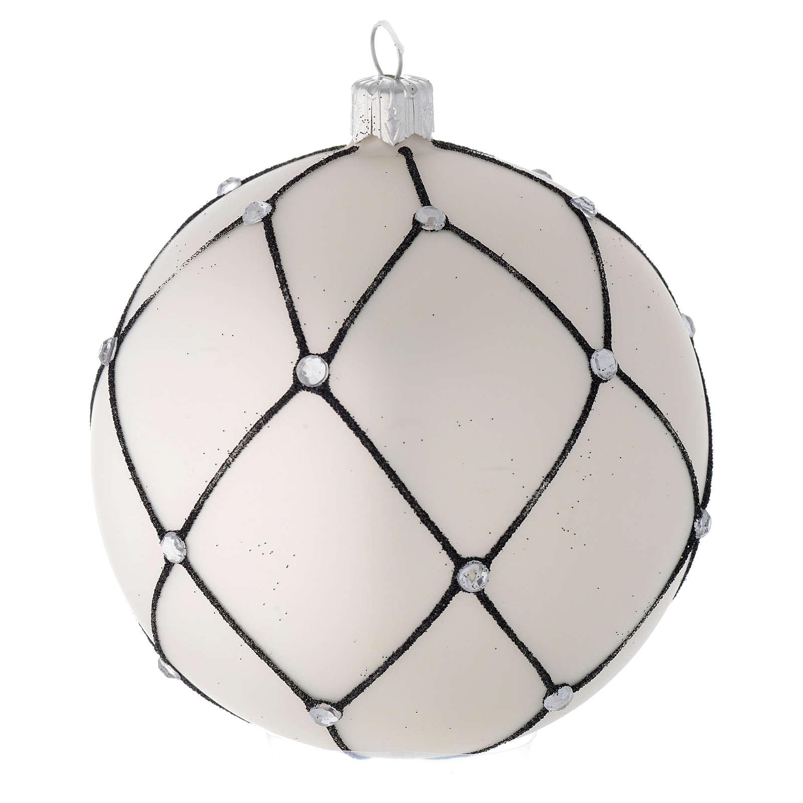 Bola árbol de Navidad de vidrio soplado blanco con decoración negra 100 mm 4