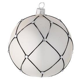 Bola árbol de Navidad de vidrio soplado blanco con decoración negra 100 mm s1