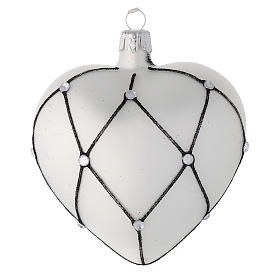 Heart Shaped bauble in white blown glass with black decoration 100mm s2