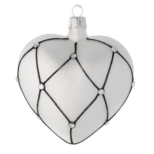 Heart Shaped bauble in white blown glass with black decoration 100mm 1