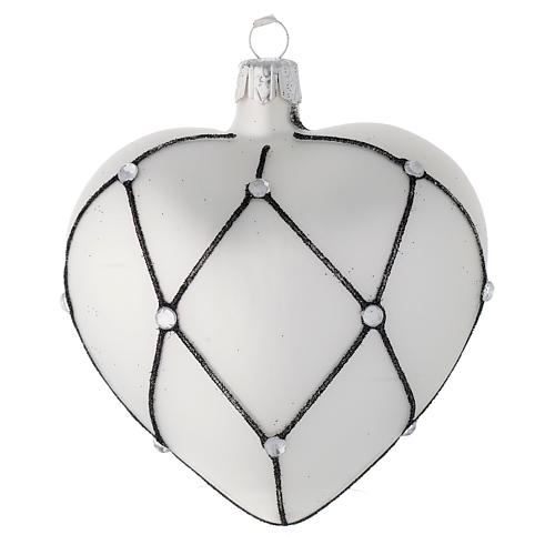 Heart Shaped bauble in white blown glass with black decoration 100mm 2