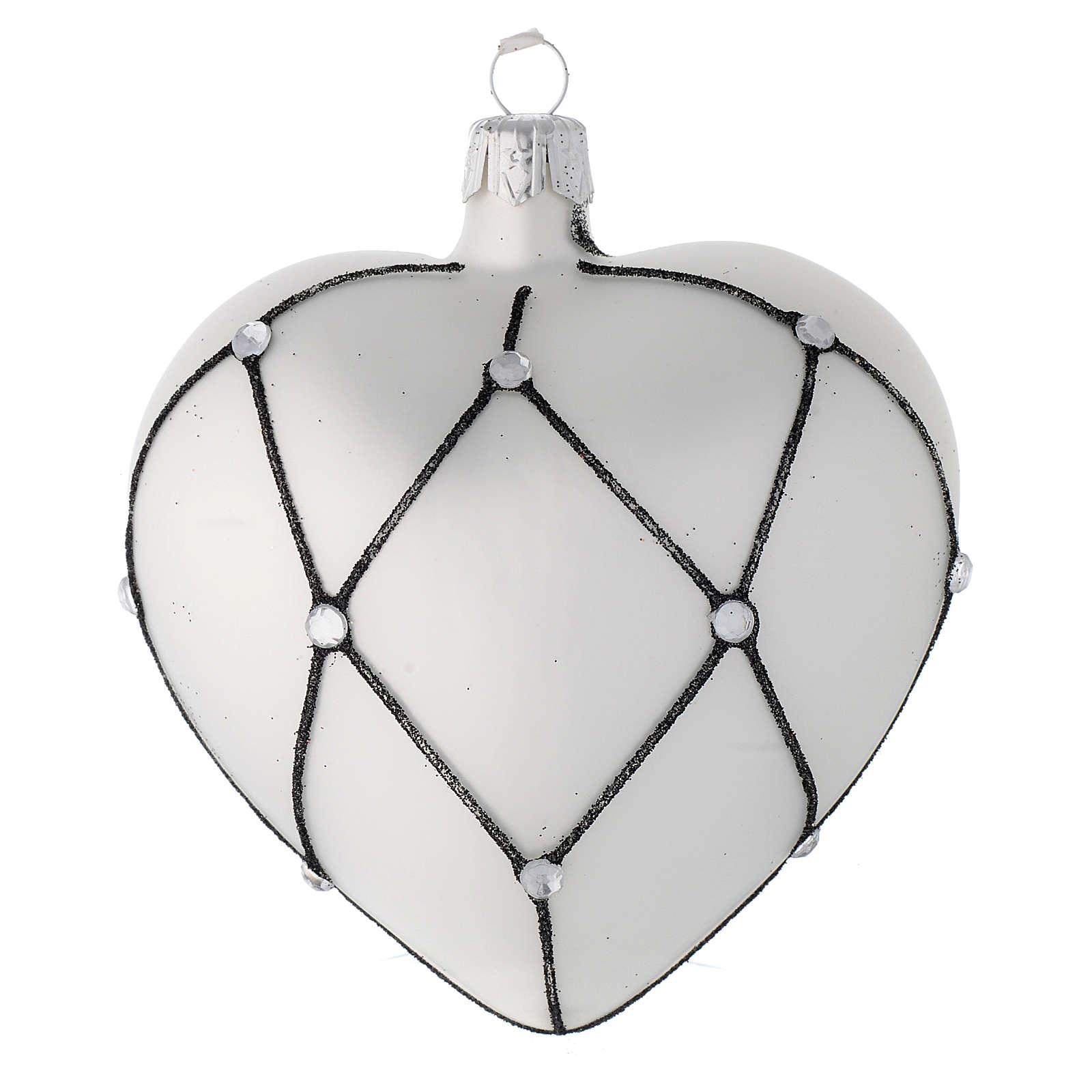 Addobbo cuore vetro bianco decoro nero 100 mm 4