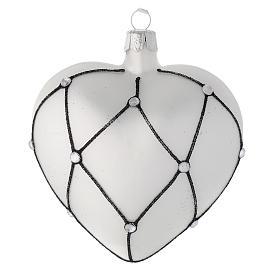 Addobbo cuore vetro bianco decoro nero 100 mm s1