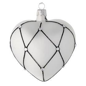 Addobbo cuore vetro bianco decoro nero 100 mm s2