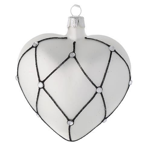 Addobbo cuore vetro bianco decoro nero 100 mm 1