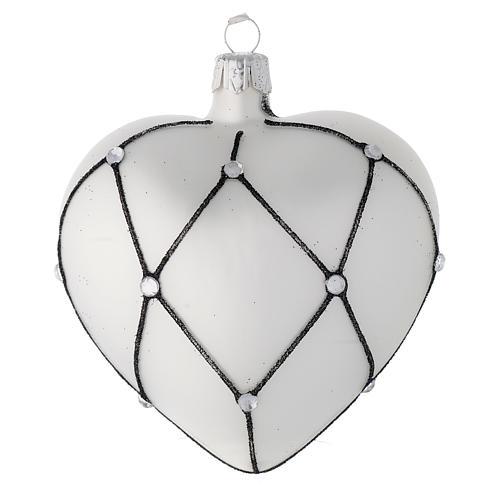 Addobbo cuore vetro bianco decoro nero 100 mm 2