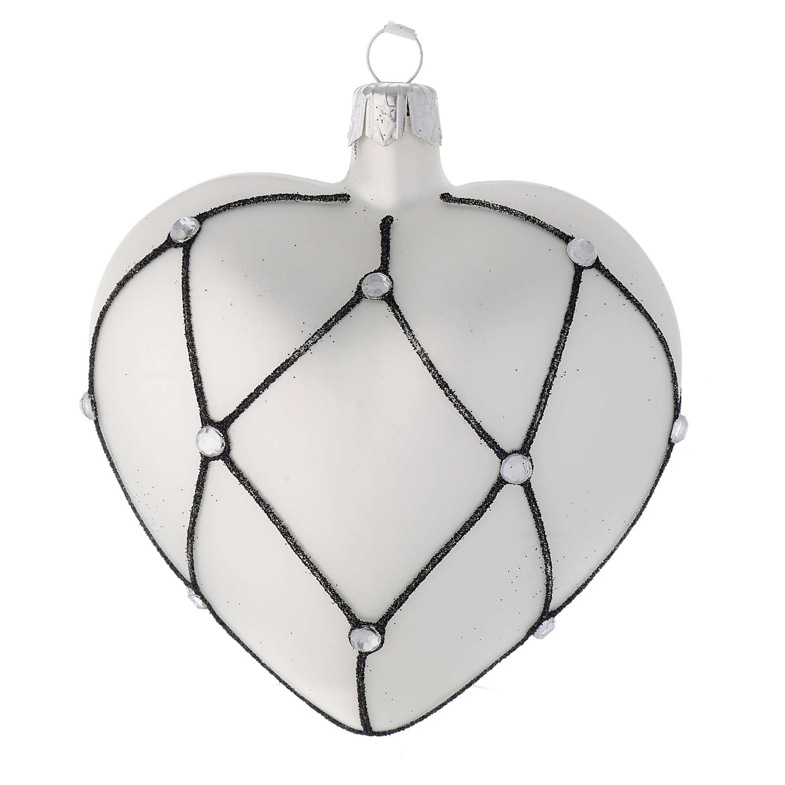 Heart Shaped bauble in white blown glass with black decoration 100mm 4