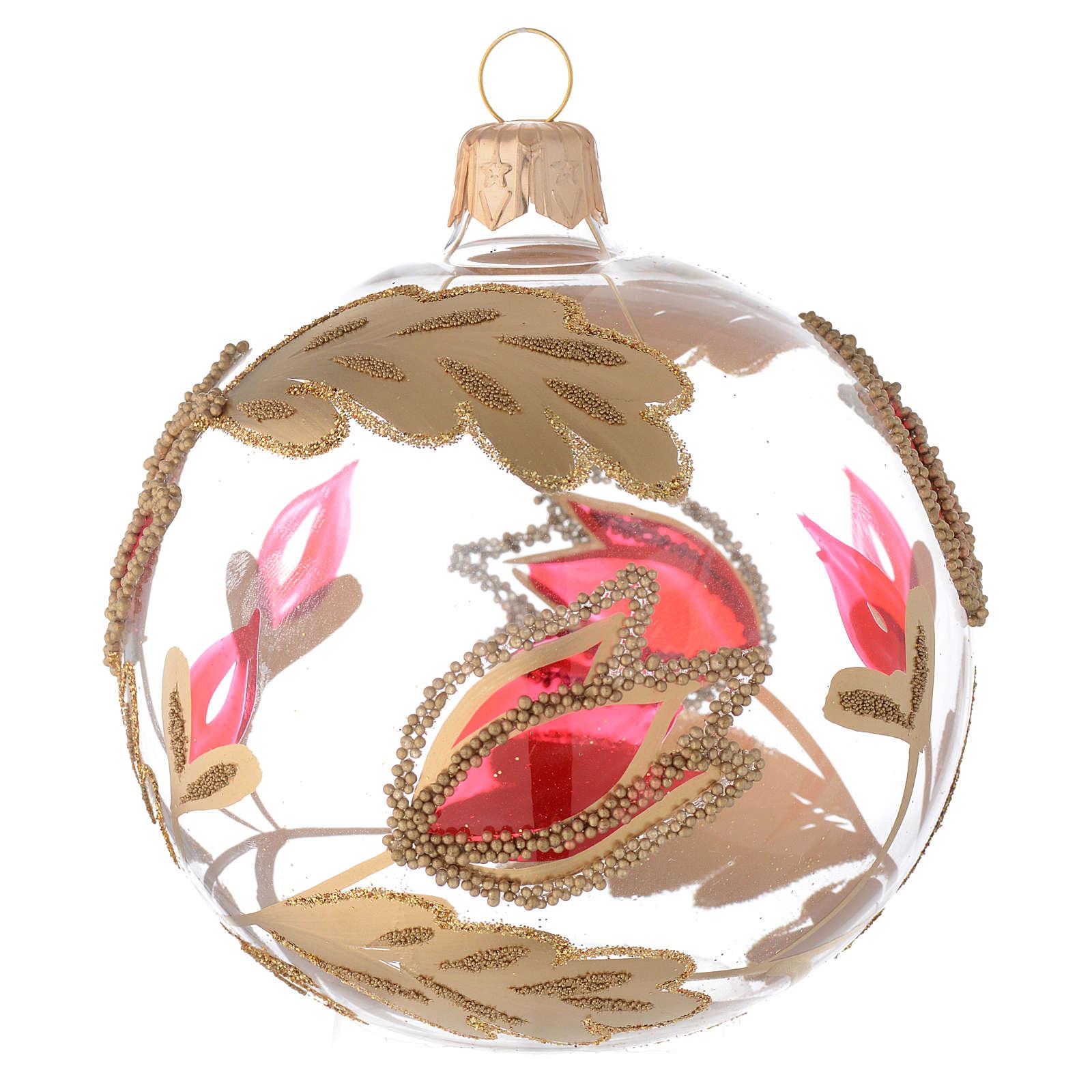 Bola de Navidad de vidrio transparente con decoraciones rojas y oro en relieve 80 mm 4
