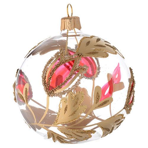 Bola de Navidad de vidrio transparente con decoraciones rojas y oro en relieve 80 mm 1