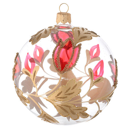 Bauble in blown glass with red and gold decoration in relief 100mm 1
