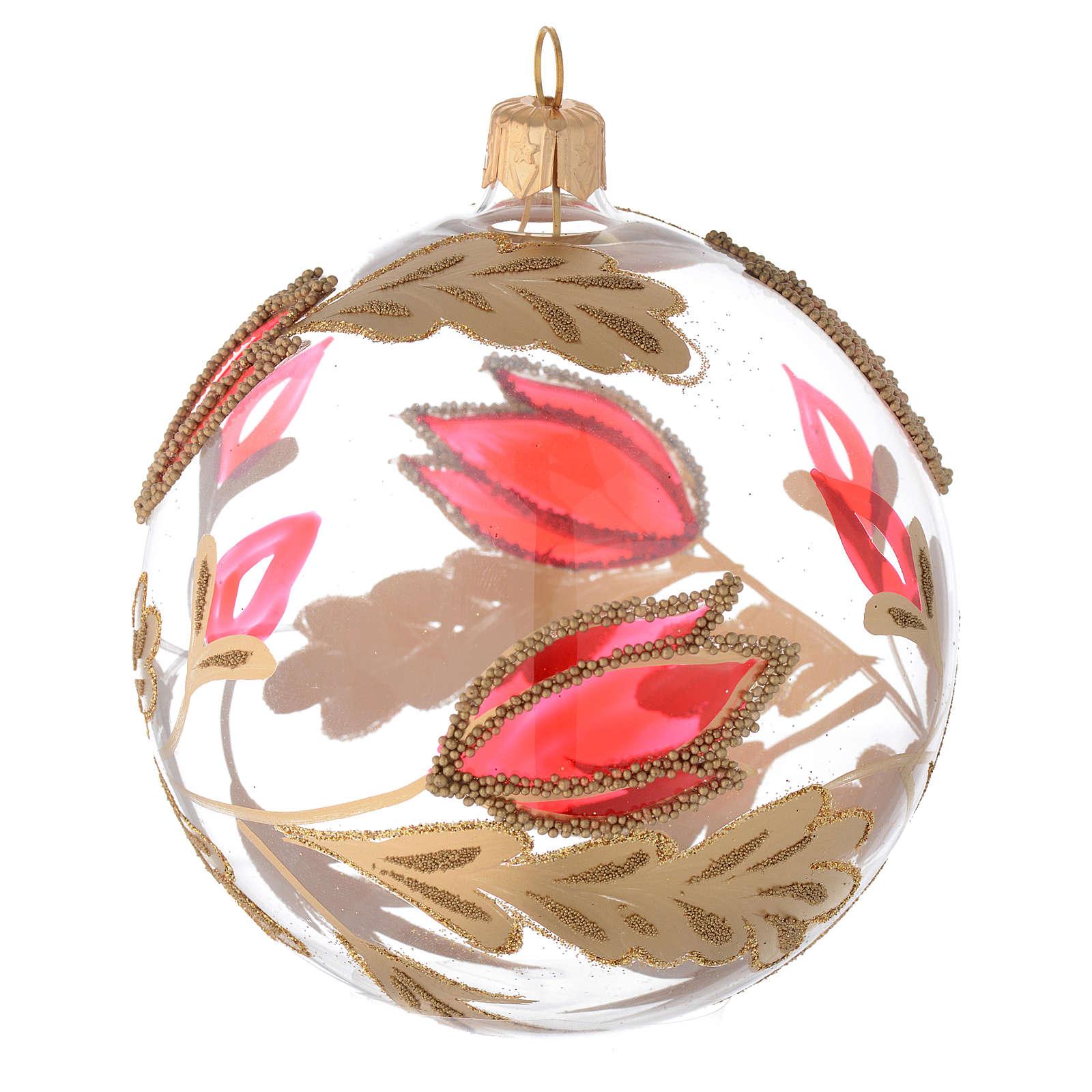 Bola árbol de Navidad de vidrio soplado transparente y decoraciones rojas y oro 100 mm 4