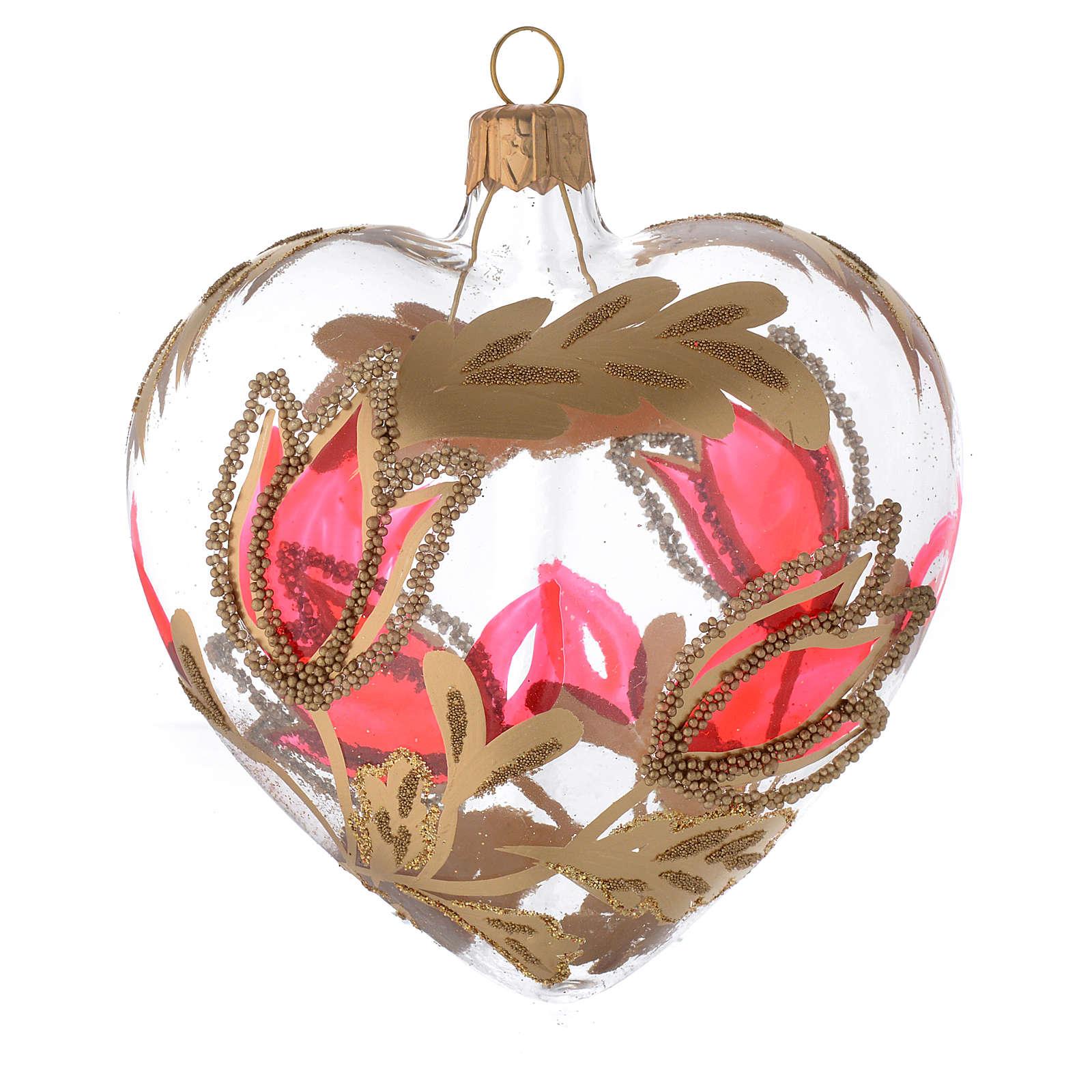 Weihnachtskugel aus transparentem Glas in Herzformmit roten und goldenen Blumenverzierungen 100 mm 4