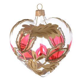 Weihnachtskugel aus transparentem Glas in Herzformmit roten und goldenen Blumenverzierungen 100 mm s1